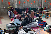 Greece . Chios Island, one of the places where refugees from Turkey land en route to Northern Europe. Tampakika camp, reception centre; in an old factory only used now when there are lots of arrivals.