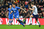 Italy Midfielder Lorenzo Pellegrini (16) and England Defender John Stones (5) in action during the Friendly match between England and Italy at Wembley Stadium, London, England on 27 March 2018. Picture by Stephen Wright.