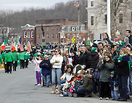 Goshen, New York - People line the street to watch marchers in the mid-Hudson St. Patrick's Day parade on March 13, 2011.