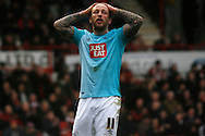 Johnny Russell of Derby reacts  after a missed chance to score during the Skybet football league championship match, Brentford  v Derby county at Griffin Park in London on Saturday 20th February 2016.<br /> pic by Steffan Bowen, Andrew Orchard sports photography.