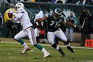 PHILADELPHIA - NOVEMBER 18: Juqua Thomas #75 of the Philadelphia Eagles misses a tackle during the game against the Miami Dolphins on November 18, 2007 at Lincoln Financial Field in Philadelphia, Pennsylvania.
