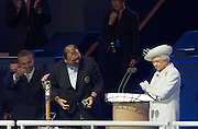 23.07.2014. Glasgow, Scotland. Glasgow Commonwealth Games. Fans ahead of the opening ceremony. President of the CGF Prince Imran has problems getting the Queens message out the baton.