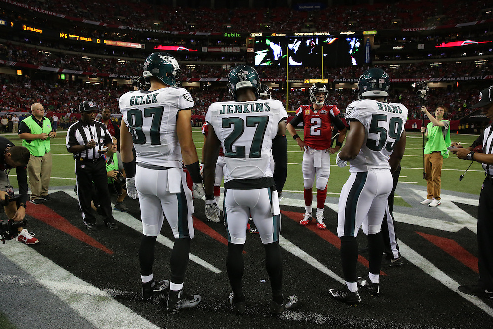 Brent Celek, DeMeco Ryans, Malcolm Jenkins, Philadelphia Eagles at Atlanta Falcons; Monday Night Football