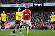 Alex Oxlade-Chamberlain of Arsenal reacts after missing a chance to score. The Emirates FA cup, 4th round match, Arsenal v Burnley at the Emirates Stadium in London on Saturday 30th January 2016.<br /> pic by John Patrick Fletcher, Andrew Orchard sports photography.