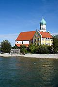 Wasserburg, Halbinsel mit Kirche St. Georg, Bodensee, Bayern, Deutschland