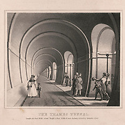 The Thames Tunnel is a tunnel beneath the River Thames in London, connecting Rotherhithe and Wapping. It measures 35 feet (11 m) wide by 20 feet (6 m) high and is 1,300 feet (396 m) long, running at a depth of 75 feet (23 m) below the river surface measured at high tide. It is the first tunnel known to have been constructed successfully underneath a navigable river and was built between 1825 and 1843 by Marc Brunel and his son Isambard using the tunnelling shield newly invented by the elder Brunel and Thomas Cochrane. The tunnel was originally designed for horse-drawn carriages, but was mainly used by pedestrians and became a tourist attraction. In 1869 it was converted into a railway tunnel for use by the East London line
