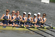 Amsterdam, HOLLAND, GBR W8+,bow Baz MOFFAT, Carla ASHFORD, Georgina MENENEOTT, Jessica EDDIE, Beth RODFORD, Natasha PAGE, Katie GREVES, Louisa REEVE and cox Caroline O'CONNER, move away from the start of the heat of the women's eights, at the 2007 FISA World Cup Rd 2 at the Bosbaan Regatta Rowing Course. [Date] [Mandatory Credit: Peter Spurrier/Intersport-images]..... , Rowing Course: Bosbaan Rowing Course, Amsterdam, NETHERLANDS