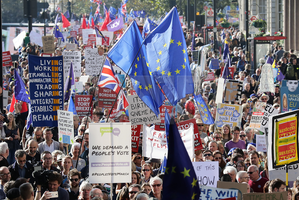 © Licensed to London News Pictures. 20/10/2018. London, UK. Protesters join the People's Vote March in central London to call on government to give the public a vote on the final Brexit deal. Photo credit: Rob Pinney/LNP