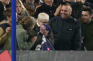 a fan looks happy after she gets a shirt from David Luiz of Chelsea  after the final whistle. Premier league match, Chelsea v Tottenham Hotspur at Stamford Bridge in London on Saturday 26th November 2016.<br /> pic by John Patrick Fletcher, Andrew Orchard sports photography.