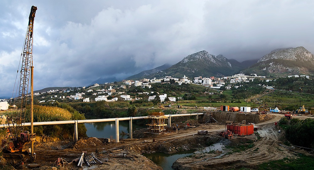Construction site in Tetouan, Morocco, with the Rif Mountains in the background.