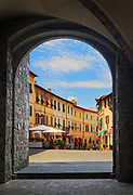 Loggia in the center of Tuscan hill town Montalcino, famous for its Brunello wine