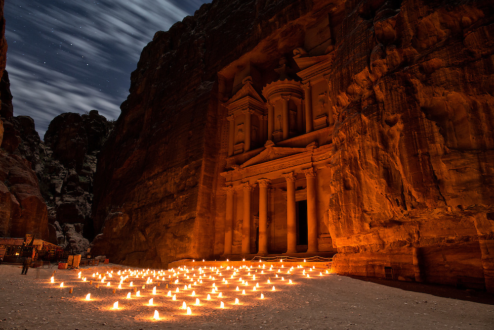 """The Treasury of Petra lit by candlelight, """"Petra by Night."""""""