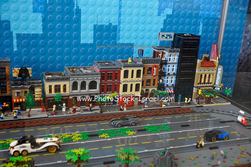 city scene from Lego building blocks at the Holon Children's museum. Holon, Israel
