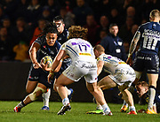 Sale Sharks TJ Ioane runs at Exeter Chiefs Alex Hepburn during the The Aviva Premiership match Sale Sharks -V- Exeter Chiefs  at The AJ Bell Stadium, Salford, Greater Manchester, England on Friday, October 27, 2017. (Steve Flynn/Image of Sport)