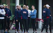 Amsterdam. NETHERLANDS. USA Women's eights group waiting at the boathouse. 2014 FISA  World Rowing. Championships.  De Bosbaan Rowing Course . 07:35:19  Thursday  21/08/2014  [Mandatory Credit; Peter Spurrier/Intersport-images]
