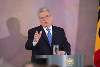 22 FEB 2013, BERLIN/GERMANY:<br /> Joachim Gauck, Bundespraesident, haelt eine Rede zu Europa, Schloss Bellevue<br /> IMAGE: 20130222-02-020<br /> KEYWORDS: Europarede, speech, Europe, Bellevue Forum