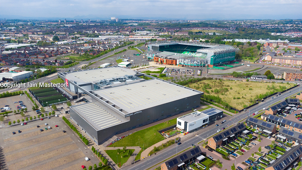 Aerial view of Emirates Arena and Celtic Park football stadium in East End of Glasgow, Scotland, UK