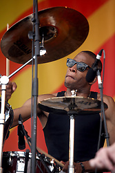 29 April 2012. New Orleans, Louisiana,  USA. <br /> New Orleans Jazz and Heritage Festival. <br /> Troy Andrews, better known as 'Trombone Shorty' plays the Acura stage.<br /> Photo credit; Charlie Varley/varleypix.com