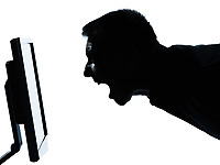 one caucasian business man face screaming silhouette with computer screen display portrait in studio isolated on white background
