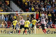 Sebastian Prödl of Watford (5) scores Watford's first goal. Barclays Premier league match, Watford v Sunderland at Vicarage Road in Watford, London on Sunday 15th May 2016.<br /> pic by Steffan Bowen, Andrew Orchard sports photography.