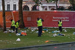 © Licensed to London News Pictures.  18/06/2021. London, UK. Rubbish left behind Scottish football supporters who gather at Leicester Square, central London shortly before their EURO 2020 match against England at Wembley this evening. Photo credit: Marcin Nowak/LNP