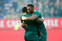 CAPE TOWN, SOUTH AFRICA - JUNE 23: South Africa's Tendai Mtawarira and Siya Kolisi sing the anthem at Newlands Stadium on June 23, 2018 in Cape Town, South Africa. (Photo by MB Media/Getty Images)