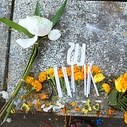 "Offerings of flowers and candles at the That Luang festival, Vientiane, Lao PDR. Vientiane's most important Theravada Buddhist festival, ""Boun That Luang"", is held for three days during the full moon of the twelfth lunar month (November). Monks and laypeople from all over Laos congregate to celebrate the occasion with three days of religious ceremony followed by a week of festivities, day and night. The religious part concludes as laypeople, carrying incense and candles as offerings, circumambulate Pha That Luang three times in honor of Buddha."