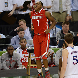 Mar 31, 2012; New Orleans, LA, USA; Ohio State Buckeyes forward Deshaun Thomas (1) reacts as he injures his foot during the second half in the semifinals of the 2012 NCAA men's basketball Final Four against the Kansas Jayhawks at the Mercedes-Benz Superdome. Mandatory Credit: Derick E. Hingle-US PRESSWIRE