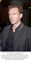 Actor RALPH FIENNES at a party in London on 5th September 2002.PCZ 97