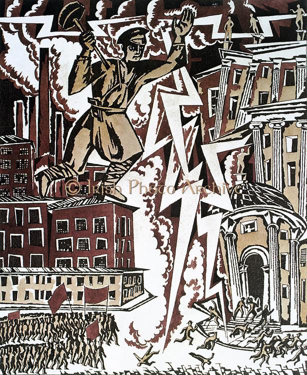 The Red Thunderbolt', 1919. Design by Ignaty Nivinisky for a Soviet propaganda poster.  Russia USSR  Communism Communist