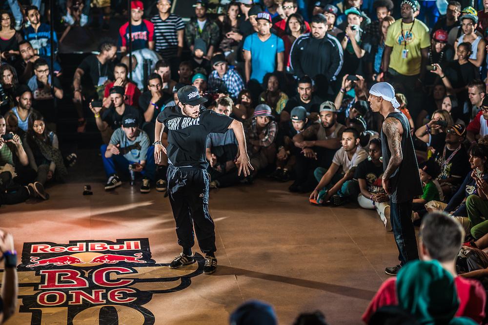 B-boy Insight performs againt B-boy phantom at RedBull BCOne Cypher in Orlando, Florida on June 30th 2013.
