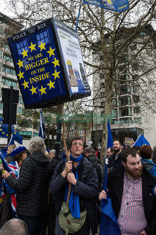 March 23, 2019 - London, Greater London, United Kingdom - Pro-European protesters congregate along Park Lane ahead of an anti-Brexit demonstration in central London on 23 March, 2019. Hundreds of thousands of people are expected to take part in the 'Put it to the People' march through the capital followed by a rally in Parliament Square to demand a public vote on the final outcome of Brexit. Britain's departure from the EU is now scheduled for 22 May provided that MPs in Parliament approve Theresa May's negotiated Withdrawal Agreement, otherwise the UK has to propose a new plan by 12 April. (Credit Image: © Wiktor Szymanowicz/NurPhoto via ZUMA Press)