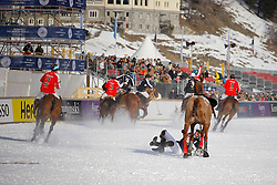 Thomas Wolfensberger testing the ice of the St Moritz lake for team Germany<br /> St.Moritz Polo World Cup On Snow 2011<br /> © Dirk Caremans