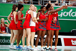 England's Helen Housby (left) and Natalie Haythornthwaite celebrate their win against New Zealand in the netball at the Gold Coast Convention and Exhibition Centre during day seven of the 2018 Commonwealth Games in the Gold Coast, Australia.