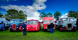 The 44th Biggar Vintage Vehicle Rally held in Biggar on 13th August 2017.  Enthusiats admiring a row of vintage vehicles.<br /> <br /> (c) Andrew Wilson   Edinburgh Elite media