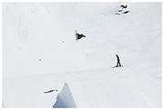 GB Park & Pipe freestyle Snowboarder Billy Morgan <br /> at The Stomping Ground snowpark in Corvatsch, Switzerland
