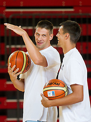 Gasper Vidmar and Jure Balazic during training camp of Slovenian National basketball team for Eurobasket 2013 on July 19, 2013 in Sports hall Rogatec, Slovenia. (Photo by Vid Ponikvar / Sportida.com)