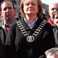 Mayor of Clare Madeline Taylor-Quinn at the hospital protest rally in Ennis on Satruday.<br /> Photograph by Yvonne Vaughan
