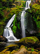 The Triberg waterfall ends in a lovely lush green forest pool.