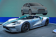 New York, NY - 1 April 2015. Ford introduced its GT concept car at the New York International Auto Show. The car boasts a twin-turbocharged V6 engine that produces over 600hp.
