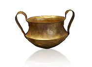 Two handled Mycenaean gold bowl cup from the Kakovatos tholos tomb, Trifylia, Greece. National Archaeological Museum Athens. <br />  White Background.<br /> Kakovatos is a significant site of the early Mycenaean period of Greece (c. 16th to 15th century BC) on the west coast of the Peloponnese (Zacharo, Nomos Elis) and became widely known through the excavations of three large tholos tombs by Wilhelm Dörpfeld in 1907–1908. .<br /> <br /> If you prefer to buy from our ALAMY PHOTO LIBRARY  Collection visit : https://www.alamy.com/portfolio/paul-williams-funkystock/mycenaean-art-artefacts.html . Type -   Athens    - into the LOWER SEARCH WITHIN GALLERY box. Refine search by adding background colour, place, museum etc<br /> <br /> Visit our MYCENAEN ART PHOTO COLLECTIONS for more photos to download  as wall art prints https://funkystock.photoshelter.com/gallery-collection/Pictures-Images-of-Ancient-Mycenaean-Art-Artefacts-Archaeology-Sites/C0000xRC5WLQcbhQ