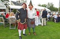 HILVERSUM - Viering 100 jaar Hilversumsche Golfclub met de titel 'Once in a Livetime' was van ieder Nederlandse golfclub een voorzitter of ander bestuurlid uitgenodigd. Er waren 165 deelnemers voor  de wedstrijd. Deelnemers in schotse kleding. COPYRIGHT KOEN SUYK