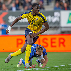Brandon Onkony (Hobro IK) og André Riel (Lyngby Boldklub) under kampen i 3F Superligaen mellem Lyngby Boldklub og Hobro IK den 20. juli 2020 på Lyngby Stadion (Foto: Claus Birch).