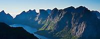 View of Kjerkfjorden and mountains from Reinebringen peak, Lofoten islands, Norway