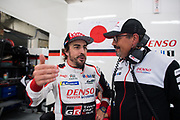 Fernando Alonso, Rob Luepen, Director of Business Operations<br /> TOYOTA GAZOO  Racing. <br /> Le Mans 24 Hours Race, 11th to 17th June 2018<br /> Circuit de la Sarthe, Le Mans, France.