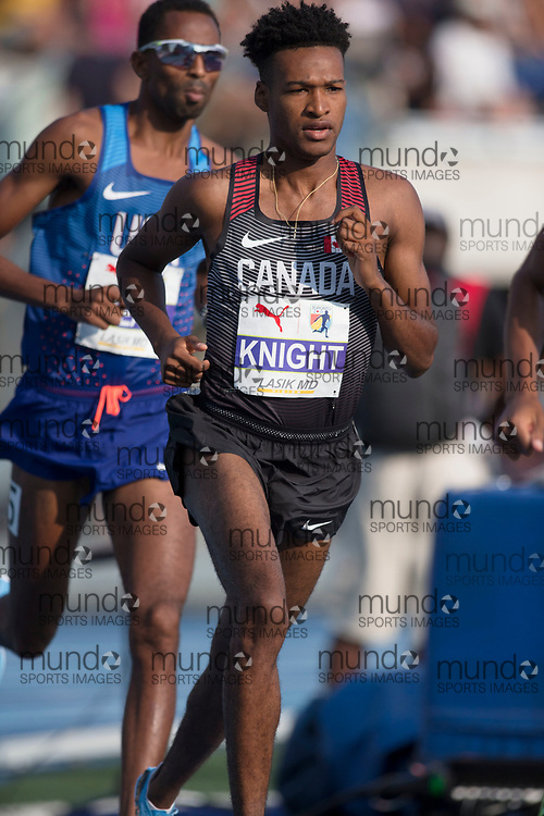 Toronto, ON -- 11 August 2018: Justyn Knight (Canada), 5000m final at the 2018 North America, Central America, and Caribbean Athletics Association (NACAC) Track and Field Championships held at Varsity Stadium, Toronto, Canada. (Photo by Sean Burges / Mundo Sport Images).