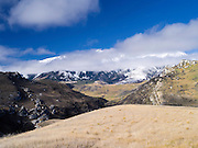 View from the Cave Stream overlook, towards the Torlesse Range, along Highway 73, New Zealand.