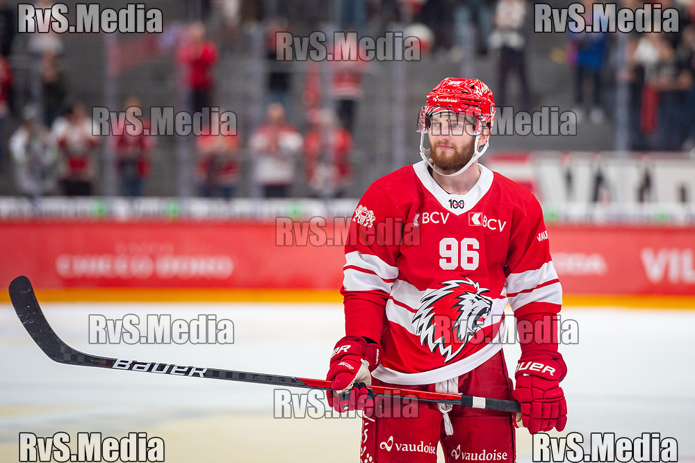 LAUSANNE, SWITZERLAND - SEPTEMBER 28: Andrea Glauser #96 of Lausanne HC looks on during the Swiss National League game between Lausanne HC and SC Bern at Vaudoise Arena on September 28, 2021 in Lausanne, Switzerland. (Photo by Monika Majer/RvS.Media)