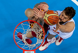 Pero Antic of Macedonia vs Marc Gasol of Spain during basketball game between National basketball teams of Spain and F.Y.R. of Macedonia in Semifinals  of FIBA Europe Eurobasket Lithuania 2011, on September 16, 2011, in Arena Zalgirio, Kaunas, Lithuania. Spain defeated Macedonia 92-80.  (Photo by Vid Ponikvar / Sportida)
