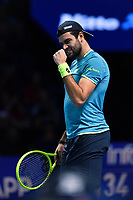 Tennis - 2019 Nitto ATP Finals at The O2 - Day Five<br /> <br /> Singles Group Bjorn Borg: Dominic Thiem (Austria) vs. Matteo Berrettini (Italy)<br /> <br /> Matteo Berrettini celebrates a point during his 2 set victory over Dominic Thiem, 7-6, 6-3<br /> <br /> COLORSPORT/ASHLEY WESTERN